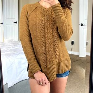 J. CREW Wool Pointelle Cable Knit Pullover Sweater